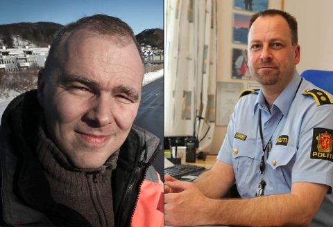 Lensmann Ronny Borge (til høyre) mener den manglende trafikksikkerheten mellom Finneid og Sulitjelma må prioriteres raskt. Seksjonsleder for transport og infrastruktur på fylket, Lars Petter Kaski, har en plan klar. Foto: Tom Melby/Arkiv
