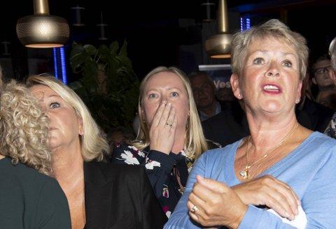 Silja Bjørkly, i midten, mellom Monica Mæland og Hilde Onarheim fra valgvaken i 2019.
