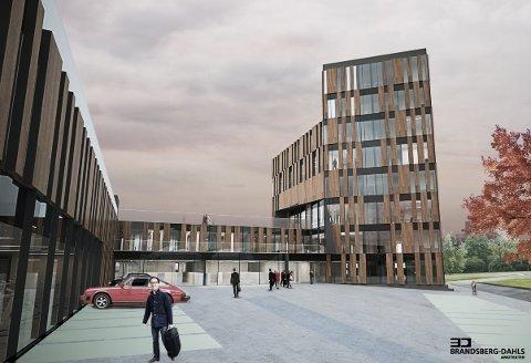 Denne skissen viser hvordan det nye kontorbygget tenkes bygget.