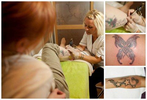 LIDENSKAP: Hurum-bloggeren Siri Krigsvoll Andersen har et lidenskapelig forhold til tatovering. Her er hun i full gang med jobben som tatovør.