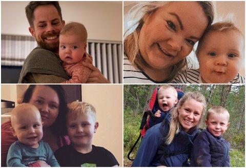 FEM BARNEHAGER: Alle disse fire familiene bor på Ormåsen og søkte på plass i Ormåsen barnehage. Bare ett av barna fikk plass, men broren går i barnehage i Harakollen.