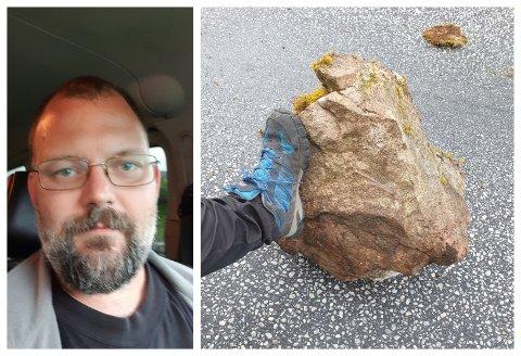 FJERNA STEINEN: Då Daniel Bjørnsen fann denne steinen i vegbana tenkte han det var like greit å få den fjerna.
