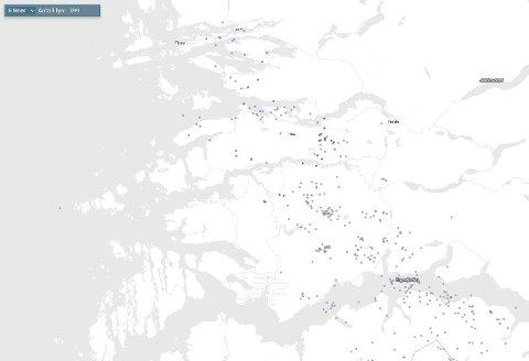 LYN: På met.no kan ein følgje torever i sanntid. I ettermiddag og kveld vart det registrert 399 lynnedslag over Sogn og Fjordane.