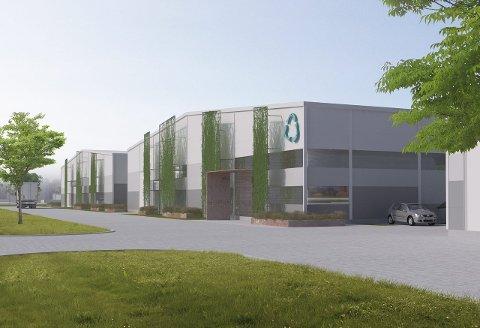 Byggestart: Byggestart for laksefabrikken på Øra er nært forestående. Slik vil bygningene bli seende ut.