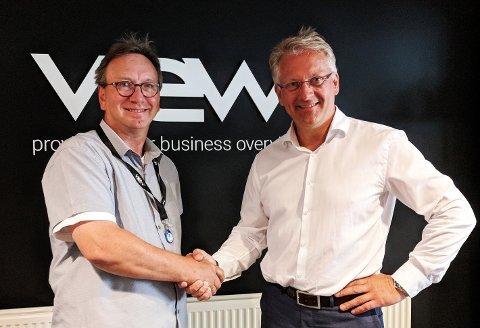 Skal samarbeide. Daglig leder i View Software, Pål Einar Berntsen ( til høyre), er glad for å få Jacob Jordal og Synkarion på laget.