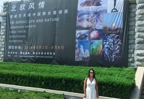 Gjorde inntrykk: Yvonne Jeanette Karlsens reise til Kina ga varige minner. Hun stilte ut ti bilder i Yantai, en by på sju millioner mennesker nordøst i Kina.