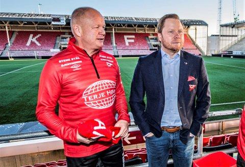 TRENER, SÅ SPORTSSJEF: Per-Mathias Høgmo var hovedtrener i 2018, og sportslig leder i halv stilling i 2019. FFK ønsker å forlenge med Høgmo, men Lunde ønsker ikke å si i hvilken rolle.