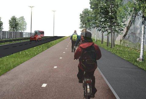 Høyre vil nedskalere:  Den nye veien fra Råbekken til Sarpsborg skulle få egen trasé for sykler i begge retninger. Truls Velgaard mener det holder med en vanlig gang- og sykkelvei langs fylkesvei 109.  (Illustrasjon: Pål Dixon Sandberg, Statens vegvesen)