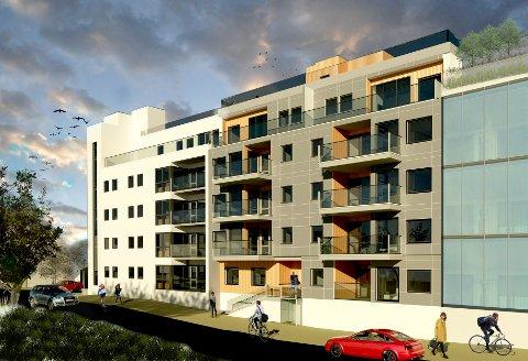 NYKOMMER PÅ FRYDENLUND: Slik er det planlagt at det nye leilighetsbygget på Frydenlund vil se ut når det etter planen står ferdig i 2022. Det er OMT BO AS som står for byggingen, et selskap som er eid av OMT BBL og Laksaa AS.