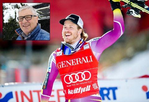 OL-HÅP MED SLEKT I KONGSVINGER: Kjetil Jansrud, her etter at han vant super-G i World Cup-rennet i Kvitfjell, 2015. Nå er han klar for nye meritter i OL i Pyeongchang. Svein Ivar Sigernes (innfelt) gleder seg ekstra til OL.