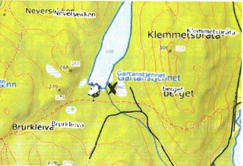 Bilde: kommunen har gitt tillatelse til å bygge gapahuk ved sørenden av Gartanstjennet.