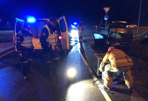 PROBLEMKRYSS: Mandag kveld smalt det igjen i rundkjøringa på E16 ved Sisselrud. Her tar redningsmannskapene hånd om de to hundene i ulykkesbilen.