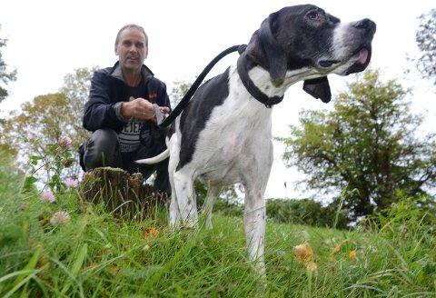 NÆRKONTAKT: Kjell Erik Rostille og fuglehunden Louies hadde nærkontakt med ulv for noen dager siden.