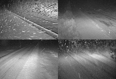 Slik ser det ut på webkameraene til Statens vegvesen på Lesja og Dovre natt til fredag.