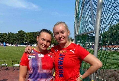 DISKOS: Norge hadde to i finalen i diskos i Tallinn. Elisabeth Thon Rosvold fra Asker (til venstre) og Lotta Flatum fra Brandbu IF.