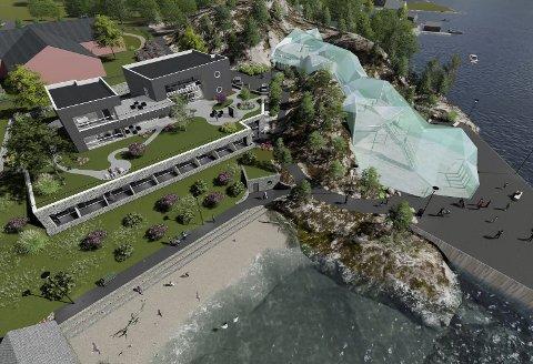 Hotell og kulturhus: Slik kan det nye hotellet i Jondal komme til å sjå ut dersom kulturhuset forma som ein isbre vert ein realitet.
