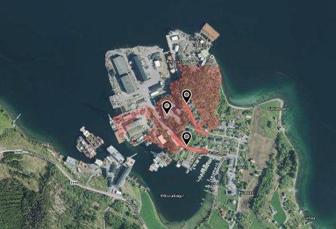 Eigedomen 202/38 består av tre teigar; ein på 51,5 mål, og to på eitt mål. (Kartgrafikk/satelittbilde frå Norkart/Geovekst via kommunen si karteneste).
