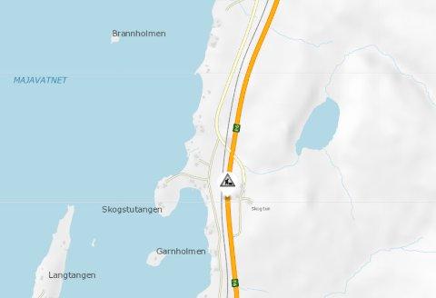 VEIARBEID: E6 i Grane kommune kan bli periodevis stengt tirsdag.