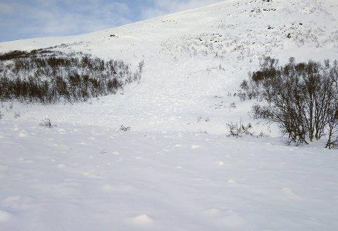 HER GIKK SKREDET: Skiløypa ble dekket av halvannen meter snø da skredet gikk skjærtorsdag klokka 12.03.