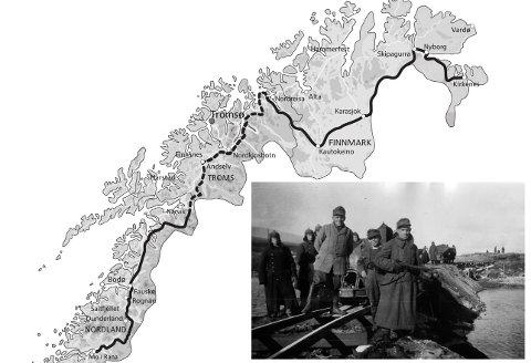 POLARJERNBANEN: Slik ville Nazi-Tyskland binde Nord-Norge sammen med jernbane. Dette er planene slik de forelå høsten 1942. Sørlige del til Narvik og nordre del fra Nordreisa til Kirkenes skulle bygges først. Trasé merket med stiplet linje skulle planlegges. Kart fra boka «Hitlers byggherrer».