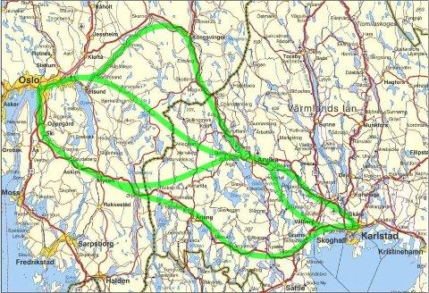 TRE ALTERNATIVER: Det foreligger per i dag tre ulike alternativer for tog mellom Oslo og Stockholm.
