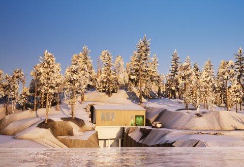 NYTT KRAFTVERK: Slik ser illustrasjonen til det nye kraftverket i Dalsfoss på vinterstid ut.