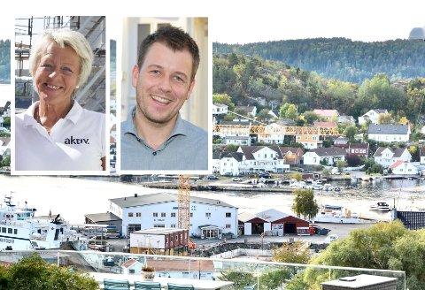 BRENNHETT: Eiendomsmekler Torunn Bakke ved Aktiv Eiendomsmegling (innfelt til venstre) og daglig leder ved Sørmegleren, Kent Andersen (innfelt til høyre) forteller om et boligmarked få har sett maken til i Kragerø.