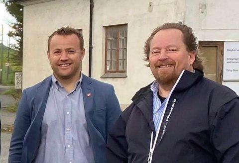Frps gruppeleder i Viken Lavrans Kierulf og fylkestingsrepresentant Morgan Langfeldt