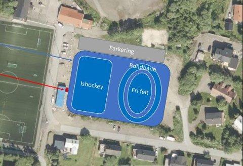 Slik ser de engasjerte for seg at man kan anlegge en årlig skøytebane på grusbanen på Stranda.
