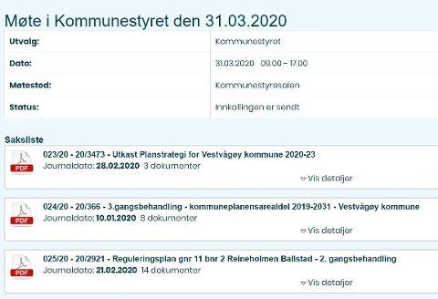 Til erstatning for oppmøte i kommunestyresalen, vil Vestvågøys lokalpolitikere møte i det digitale rom - som bildet viser et utsnitt av.