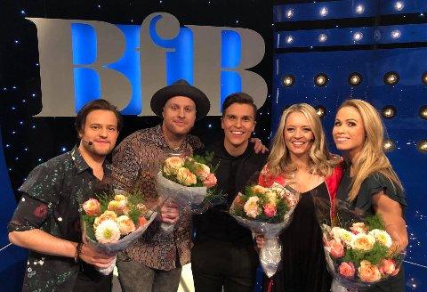 GULLREKKA: Adrian Jørgensen (fra venstre), Aleksander Walmann, programleder Atle Pettersen, Åshild Stensrud Kaasa og Karianne Kjærnes er klare for Beat for Beat.