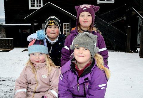Johan og Alina (bakre rekke), og Emma og Sanna (fremre rekke) gleder seg til jul.