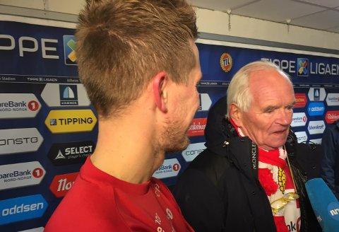 Morten Gamst Pedersen og Trond Mohn fant tonen etter kampen. Norges rikeste man utelukker ikke en julegave til klubben! Foto: Tromsø IL