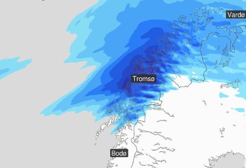 VÅTT: Det ventes store nedbørsmengder og økt skredfare i Troms. Illustrasjon: Yr.no