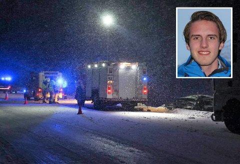 KRITISK SKADD: Charlie Dan Lind (innfelt)  krasjet med et vogntog som kom over i hans kjørefelt, like nord for Vollan 7. januar 2019.