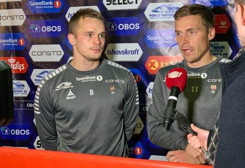 UTE: Kent-Are Antonsen (t.v) og Ruben Yttergård Jenssen (t.h) er begge ute i kampen mot Lillestrøm til helgen. Det blir store savn for TIL.