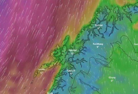 KRAFTIG VIND: Det blir to runder med kraftige vindkast tirsdag og onsdag.