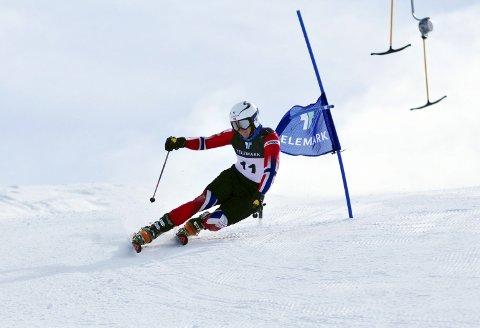 FJERDEPLASS: Ådne Kristenstuen ble nummer fire i den første individuelle konkurransen i VM i telemark. Foto: Privat