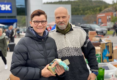 FORNØYDE: Line Lillevåje Teksli og Arnstein Hove er på kjærestetur i Porsgrunn i helgen.
