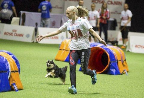 PÅ VM: Tequila og Jeanette Sandbæk Håland under VM i Bologna, Italia.Foto: Gry Himle