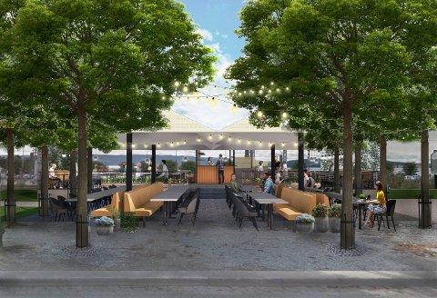 KAN BLI SLIK: Slik ser man for seg at uteserveringen i Strandgateparken kan bli. (Illustrasjon: Sweco)