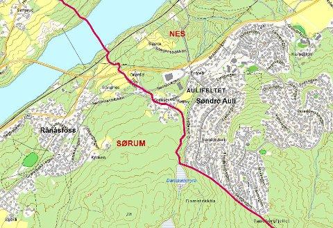 KAN BLI JUSTERT: Dagens grense mellom Nes og Sørum. (RB-grafikk)