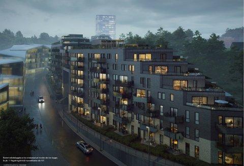 TILPASSET TERRENGET: Slik ser arkitektene for seg at Snølia vil sno seg oppover bakken vegg-i-vegg med skihallen Snø. Ill.: BetonmastHæhre Boligbygg