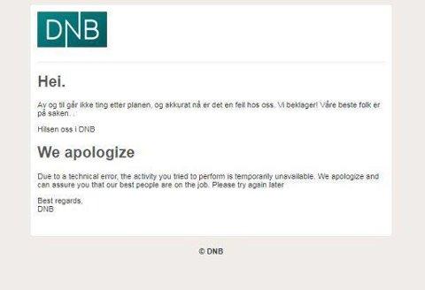 NEDE: Kunder opplevde at DNBs nettbank var nede tirsdag ettermiddag. Skjermdump fra DNBs nettsider