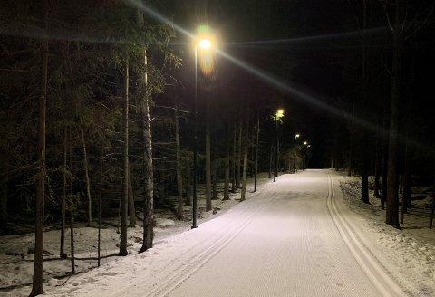 LYSER IGJEN: Det er nå lys i Torvbråten lysløype igjen, til glede for lokale skigåere.