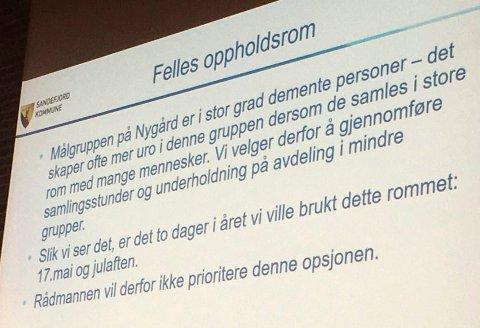 ADVARSEL: Rådmannen og eiendomssjefen advarte både HSO-utvalget og planutvalget mot at å bevilge penger til fellesrom på Nygård sykehjem.