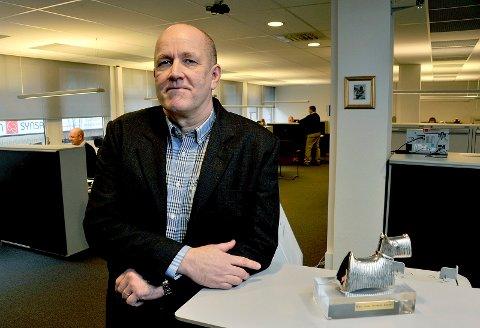 FORTSATT BEST: Banksjef Tormod Sørum gleder seg over at Sarpsborg-kontoret fortsatt scorer høyest på kundetilfredshet av samtlige Handelsbanken-kontorer på landsbasis.