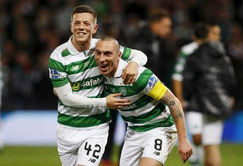 """Britain Football Soccer - Aberdeen v Celtic - Scottish League Cup Final - Hampden Park, Glasgow, Scotland - 27/11/16 Celtic's Callum McGregor and Scott Brown celebrate winning the final Action Images via Reuters / Jason Cairnduff Livepic EDITORIAL USE ONLY. No use with unauthorized audio, video, data, fixture lists, club/league logos or """"live"""" services. Online in-match use limited to 45 images, no video emulation. No use in betting, games or single club/league/player publications.  Please contact your account representative for further details."""
