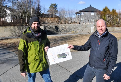Daglig leder Fredrik Urbanski (t.v.) og prosjektutvikler Magnus Johansson hos TTC Prosjekt AS planlegger en liten fancy blokk med høy kvalitet.