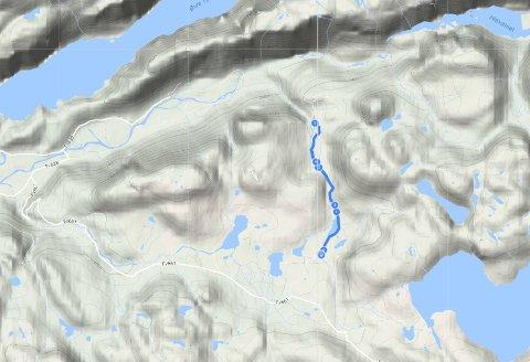 Kart over området Ryganefoss-turen går i i Årdal.